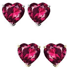 7mm Heart CZ Ruby Birthstone Gemstone Stud Earrings 14K White/Yellow Gold