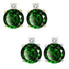 0.01 Carat TCW Diamond Round Emerald Gemstone Earrings 14K White Yellow Gold