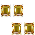 6mm Octogon CZ Citrine Birthstone Gemstone Stud Earrings 14K White Yellow Gold