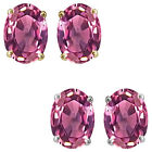 7x5mm Oval CZ Pink Topaz Birthstone Gemstone Stud Earrings 14K White Yellow Gold