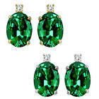 0.01 Carat TCW Diamond Oval Emerald Gemstone Earrings 14K White Yellow Gold