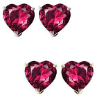 6mm Heart CZ Ruby Birthstone Gemstone Stud Earrings 14K White Yellow Gold