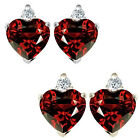 0.01 Carat TCW Diamond Heart Garnet Gemstone Earrings 14K White Yellow Gold