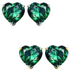6mm Heart CZ Emerald Birthstone Gemstone Stud Earrings 14K White Yellow Gold