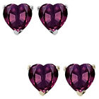6mm Heart CZ Alexandrite Birthstone Gemstone Stud Earrings 14K White Yellow Gold