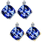 0.01 Ct TCW Dia mond Cushion Sapphire Gemstone Earrings 14K White Yellow Gold