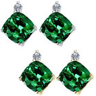 0.01 Carat TCW Diamond Cushion Emerald Gemstone Earring 14KWhite Yellow Gold