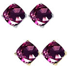 6mm Cushion CZ Alexandrite Birthstone Gemstone Earring 14K White Yellow Gold