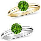 1 Carat Diamond Peridot GemStone Solitaire 14K White/Yellow Gold Promises Ring