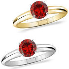 1 Carat TCW Diamond Garnet Birth Gem Stone Solitaire 14K White/Yellow Gold Ring