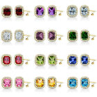 6mm Select Birthstone Gem Stud Halo Solitaire Cushion Silver Earring YG