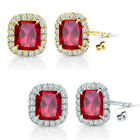 6mm Ruby Birthstone Gem Stud Halo Solitaire Cushion Silver Earrings