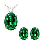 7x5mm Oval CZ Emerald Birthstone Pendant Earring Set 14K White Yellow Gold