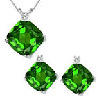 Peridot Cushion Birth GemStone Set Pendant Earring 14K White Yellow Gold Diamond