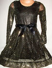 GIRLS BLACK GOLD SEQUIN PRINT SHIMMER EVENING DANCE OCCASION PARTY DRESS