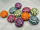 22mm 5/10/20/40pcs ASSORTED ANCIENT COLORS ACRYLIC GRAPHICS OVAL BEAD MY106#001