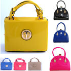 WOMEN'S PATENT SMALL MEDIUM TOTE TWO HANDLE BAGS LADIES MIRROR CELEB STYLE BAGS