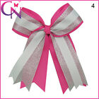 "6"" Boutique Grosgrain Silver Organza Hair Cheer Bow Cheer Bows Clip Baby"