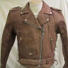 Womens Buff Brown New Premium Leather Motorcycle biker Jacket $229 Zipout Lining
