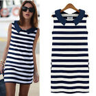 GT New Women Denim Collar Sleeveless Casual Slim Striped Summer Mini Dress