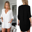Long Sleeve Solid Casual V-neck Women Europe Style Chiffon Dress Blouse