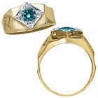 1 Carat Blue Diamond Fancy Solitaire Mens Engagement Ring 14K White Yellow Gold
