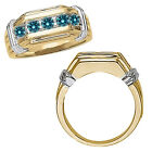 0.75 Carat Blue Diamond Channel Mens Groom Ring 14K White Yellow Two Tone Gold