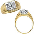 1 Carat G-H Diamond Solitaire Mens Engagement Fancy Ring 14K White Yellow Gold