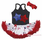 1ST 4th July Black Halter Neck Bodysuit Girl Red Blue Twin Star Baby Dress 0-24M