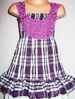 GIRLS PURPLE LILAC ROSETTE CHECK TARTAN PRINT PARTY DRESS & LEGGING