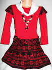 GIRLS RED & BLACK FAIR ISLE PATTERN WINTER PARTY DRESS with NECKLACE