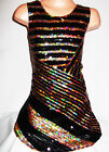 GIRLS 60s STYLE BLACK GOLD ABSTRACT STRIPE SEQUIN EVENING DANCE PARTY DRESS