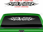 #100 FIRE RESCUE Flame Flaming Windshield Sticker Vinyl Decal Window Graphic Car
