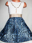 GIRLS WHITE LACE BLUE ANIMAL PRINT CHIFFON DIP HEM PARTY DRESS with NECKLACE