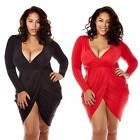 Sexy Women Bodycon Deep V Neck Mini Dress Plus Size Bodycon Cocktail Party Dress