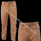 MENS BROWN LEATHER 5 FIVE POCKET JEANS PANTS DRESS