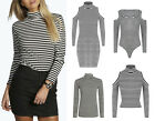 Ladies Cut Out Long Sleeve Polo Crop Top Womens Stripe Ribbed Dress Bodysuit
