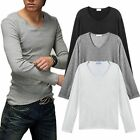 Stylish Men's Slim Fit V-neck T-shirt Long Sleeve Blouse Tops Muscle Tee New RD