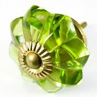 Small Drawer Pulls, Antique Glass Door Knobs or Green Cupboard Handles #K147