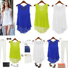 Women Summer Loose Casual Chiffon Sleeveless Vest T Shirt Top Blouse Ladies UK
