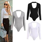 New Fshion Womens Plain Long Sleeve Basic V Cut Stretch Leotard Bodysuit  B20E