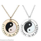 "Couples Tai Chi Engraved ""forever in my heart"" Charm Lovers Necklace Jewelry"