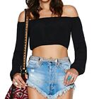NEW Womens Off Shoulder Long Sleeve Plus Size T Shirt Casual Loose Tops Blouse