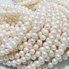 new 7-8 mm Freshwater Natural White Pearl Round Loose Beads 15''