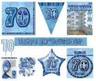 70th Birthday/Age 70 - BLUE PARTY ITEMS Decorations Tableware - Large Range