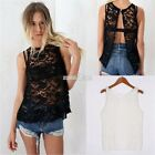 Women Backless Sheer Embroidery Lace Floral Hollow Crochet Vest Shirt Blouse Top
