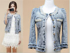 New women Denim jacket short coat pearl beaded jeweled European leg denim jacket