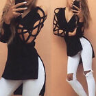New Womens Hollow Casual Long Sleeve Tops Loose Blouse Ladies Lace Sexy T Shirt