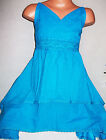 GIRLS TURQUOISE BLUE LACE CROCHET TRIM COTTON LAYER DIP HEM PARTY DRESS