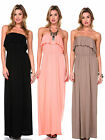 SEXY BASIC SOLID STRAPLESS SOFT BEACH CASUAL COVER UP MAXI SUN SUMMER DRESS SML